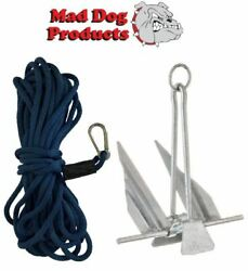 Navy Blue Anchor Line And Anchor Pack - 100and039 X 3/8 Anchor Line And 5lb Steel Anchor