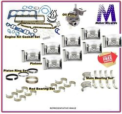 Chevy Gm 4.8 5.3 2002-13 Engine Kit Flat Top Float Pistons+rings+bearing+gaskets
