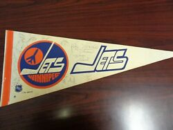 Vintage 1970and039s Winnipeg Jets Autograph Signed Hockey Pennant-15 Signatures
