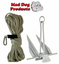 Silver 150and039 X 3/8 Anchor Line And Slip Ring Anchor Pack - 5 Lb. Steel Anchor