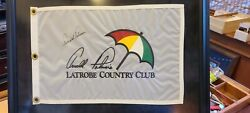 Arnold Palmer Latrobe Country Club Autographed White Pin Flag