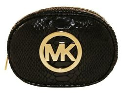 NWT Michael Kors Fulton Snake Zip Cosmetic Case Leather Clutch Black Pouch Bag $49.00