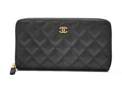 Long Wallet A50097 Black Gold Metal Fittings Caviar Skin Coco Mark Used