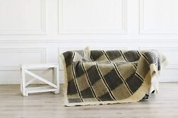 Moroccan Gray Wool Throw Blanket Plaid For Living Room Multicolored Blanket