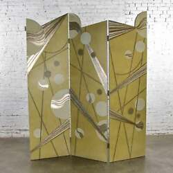Art Deco Revival 3 Panel Folding Screen Or Room Divider Gold Silver And Bronze