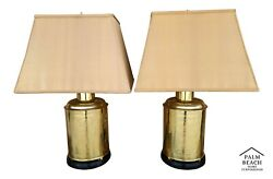 2 Vtg Asian Chinoiserie Brass Tea Cannister Floral Birds Table Lamps W Shades