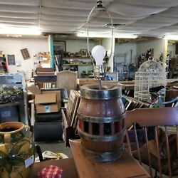 Antique Wagon Wheel Hub Heavy Wood And Iron Vintage Table Lamp Works Hand Made