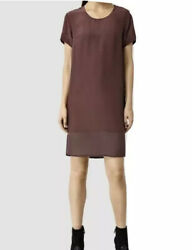 Allsaints Aroma Dress Root Red Silk Viscose Lined Shift Size 4