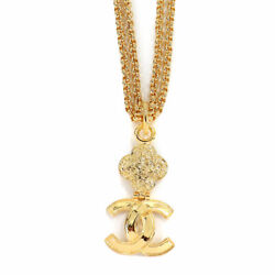 Coco Logos Long Necklace Gold 95a Accessory Vintage 90118947