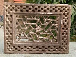 Antique Indian Hand Carved Stone Heritage Jali Cut Jharokha Window Wall Panel