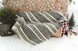 Moroccan White And Black Wool Throw Blanket Pattern Stripes Plaid
