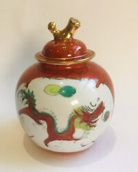 CHINESE PORCELAIN GINGER JAR HAND PAINTED DRAGON PHOENIX PEARL SCENE RUST RED
