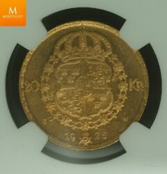 1925 W Sweden Gold 20 Kronor Ngc Ms64 Rare