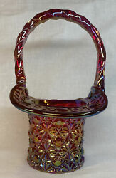 Fenton Art Glass Red Carnival With Daisy And Button Basket