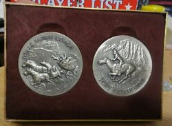 Longines- Wittnauer Wells Fargo Coach And Pony Express Rider Silver Medalsunc