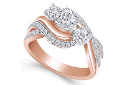 1.00ct Diamond Three Stone Ring In 14k Rose Gold Over Sterling Silver 925 Sz 6
