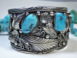 93g 2high Navajo King Sleeping Beauty Turquoise Sterling Squash Blossom Cuff 😍