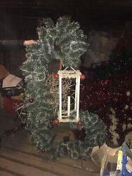 Municipal Christmas Decoration 7 Ft Tall Swag With Light Up Lantern