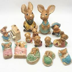 Vintage Pendelfin Bunny Rabbit Collectibles From England 1960's Lot 15 Pieces