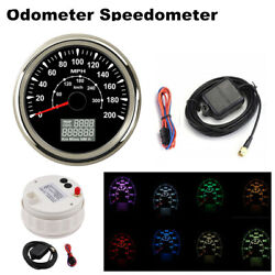New 85mm Gps Speedometers 8 Colors Backlight 0-200mph 300km/h Lcd Speed Odometer