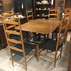 Unique Wooden Dining Table W Leaf And Drop Leaf Gateleg With 6 Ladder Back Chairs