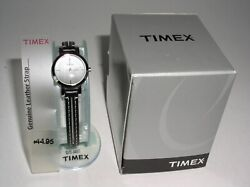 Vintage Timex Watch Womens Brushed Silver Face Black Leather Wrist Band Nos