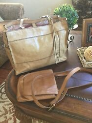 Hobo International Large Tote And Messenger Combo Brown Leather $119.99