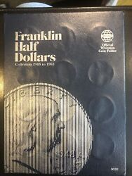 1948-1963 Franklin Silver Half Dollar Collection Folder Complete - 35 Coins