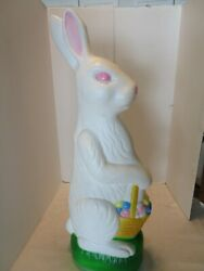 """Union Blow Mold Lighted Easter Bunny W/egg Basket Don Featherstone 30 5/8"""" 1990s"""