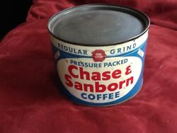 Old Chase And Sanborn Coffee Can Tin Never Opened/full W/ Key