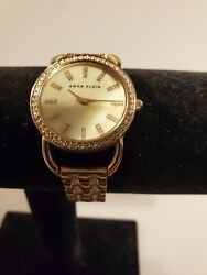 Anne Klein Two Tone Silver Gold Round Face Dress Watch With Gems Ak/1262 Y121e
