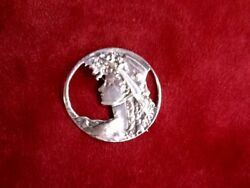 Vintage Lady Head Sterling Silver Pendant /pin Marked .925