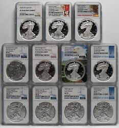 2020 Silver Eagles - 11 Varieties All Ngc Pfuc70 / Ms70