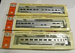 Con-cor Passenger Cars Set Of 3 2 Southern 1 Undec. Observation Dome Pullman