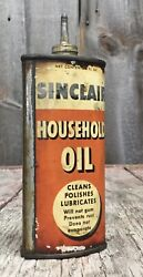 Early Vintage 4 Oz Sinclair Household Oil Oiler Tin Can Gas And Oil Advertising