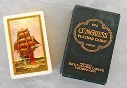 Harbor And At Sea Congress 606 Playing Cards Gold Edged Ships Never Used Andnbsp
