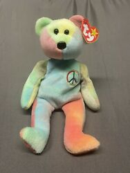 1996 Peace Sign Ty Beanie Baby Bear With Rare Tag Errors