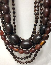 Vintage Old African Amber Long 8 Strand Necklace Rare Artisan Collectors