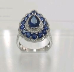 14k White Gold Pear And Round Cut Blue Sapphires Diamond Ring Size 6 1/2 4.26...