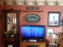 Vintage Hand Carved Wood Fish Sign...very Old