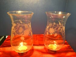Pair Of Antique Blown Cut Glass Shades For Candlestick Or Hurricane Lamps