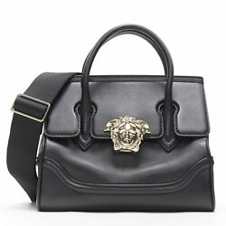 New Versace Palazzo Empire Small Black Leather Gold Medusa Head Shoulder Bag