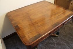 Superb Quality Antique Regency Mahogany Rosewood Crossbanded Library Table