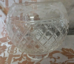 Vtg. Small Etched Glass Lamp Shade/globe - Floral Design -diamond Base -exc-
