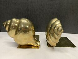 Vintage Polished Brass Conch Nautilus Sea Shell Bookends Nautical