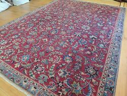 8x10, 7x10 Antique Mashaad Oriental Area Rug Red Blue Purple Wool Lovely