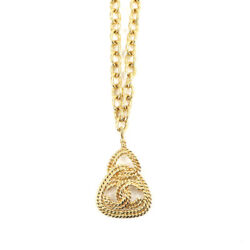 Coco Mark Long Necklace Gold Triangle Accessory 93a Vintage 90119428