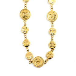 Coco Mark Long Necklace Gold Vintage Accessory 90120663