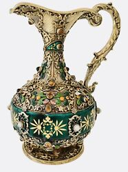 Antique Ewer Sterling Silver Jeweled Gold Gilt Enamel Pearls And Stones