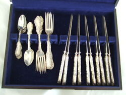 Towle Old English Pattern 1892 Sterling Silver Set Of 30 Knives Forks Spoons